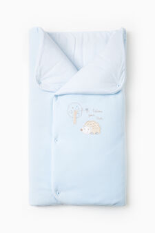 Baby's sleep sack in 100% cotton with embroidery, Light Blue, hi-res