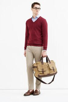 V-neck pullover in cashmere blend, Plum, hi-res