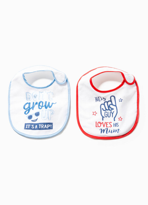 Two-pack bibs with lettering print | OVS