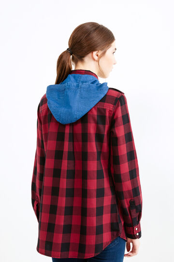 Check cotton shirt with hood, Black/Red, hi-res
