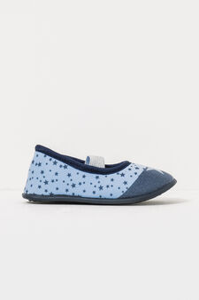 Slippers with elastic band and star pattern, Light Blue, hi-res