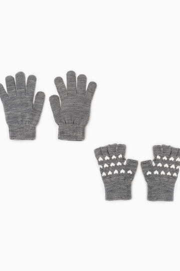 Two-pair pack gloves with heart pattern, Grey Marl, hi-res