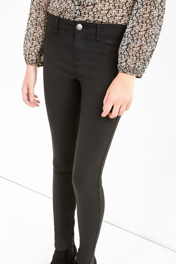 Solid colour stretch viscose jeggings, Black, hi-res