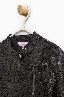 Cotton blend openwork jacket, Black, hi-res