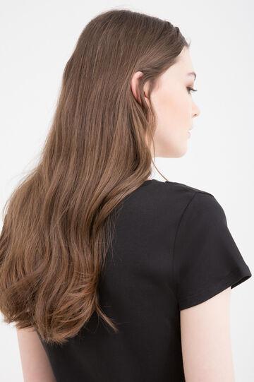 Faux layered 100% cotton T-shirt, Black, hi-res