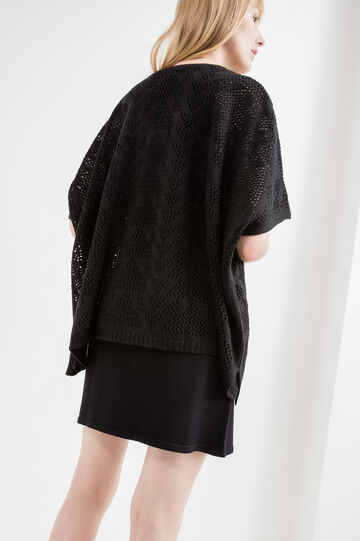 Openwork cardigan with kimono sleeves, Black, hi-res
