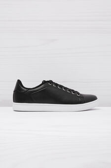 Low faux leather sneakers, Black, hi-res