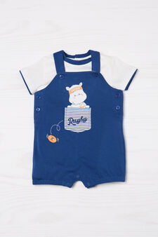 100% cotton outfit with dungarees, White/Blue, hi-res