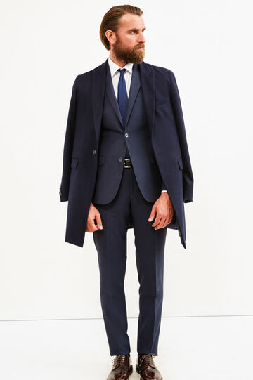 Elegant, viscose blend suit with slim fit, Blue, hi-res