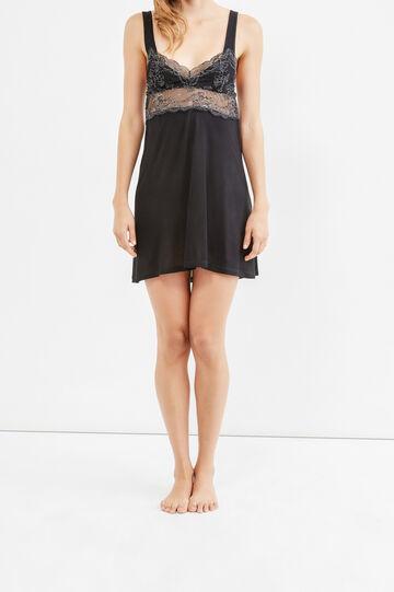 100% viscose nightshirt with lace, Black, hi-res