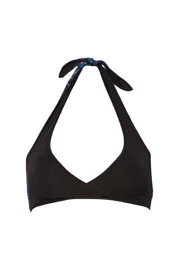 Stretch triangular top with pattern, Black/Blue, hi-res