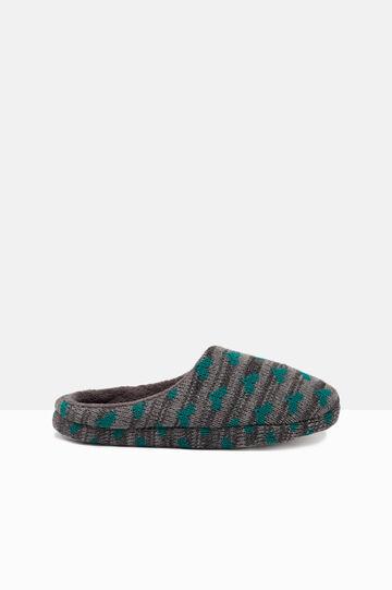 Pantofole tricot a righe con stampa, Verde/Grigio, hi-res
