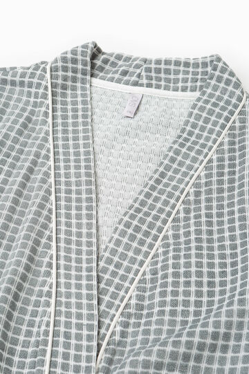 Check pattern dressing gown, White/Grey, hi-res