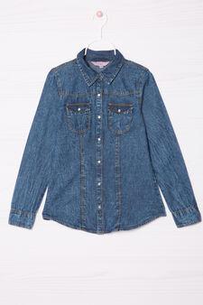 Denim shirt with applied pockets, Blue, hi-res