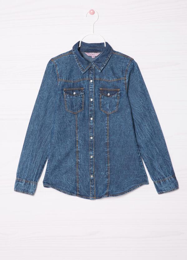 Denim shirt with applied pockets   OVS