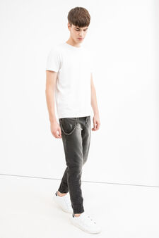 Slim-fit, used-effect jeans with chain, Black, hi-res