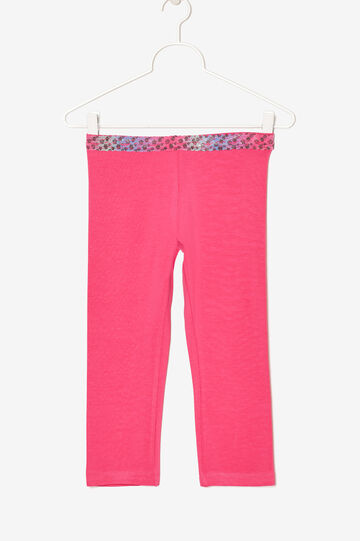 Leggings con bordo multicolor, Rosa corallo, hi-res