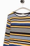 T-shirt stretch a righe Smart Basic, Nero/Giallo, hi-res