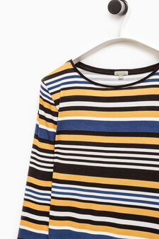 Smart Basic striped stretch T-shirt, Black/Yellow, hi-res