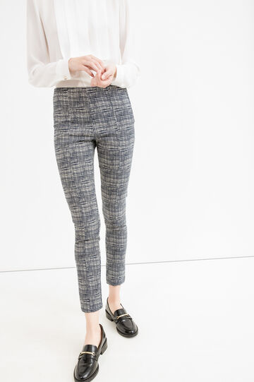 Patterned viscose trousers with zip on the side, Blue, hi-res