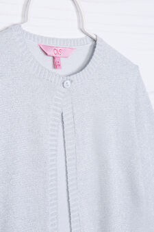Cardigan corto misto cotone e lurex, Grigio, hi-res