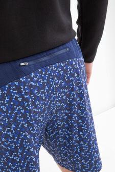Shorts sportivi stretch con fantasia, Blu, hi-res