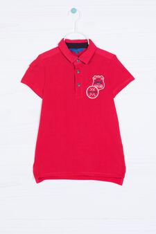 Polo puro cotone con patch, Rosso, hi-res