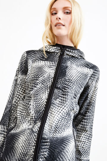Patterned sweatshirt in fleece, White/Black, hi-res