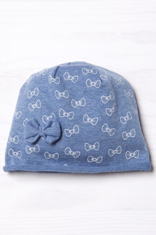 Beanie cap with bow, Navy Blue, hi-res