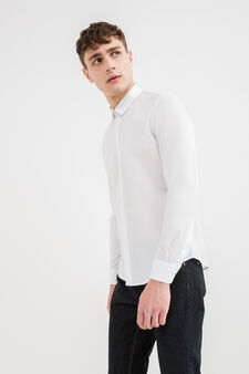 Solid colour slim-fit casual shirt, White, hi-res