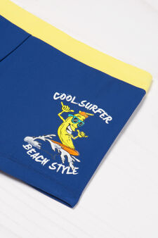 Stretch printed swim boxer shorts, Blue, hi-res