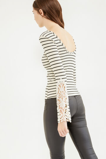 Ribbed and striped T-shirt with lace, Cream White, hi-res
