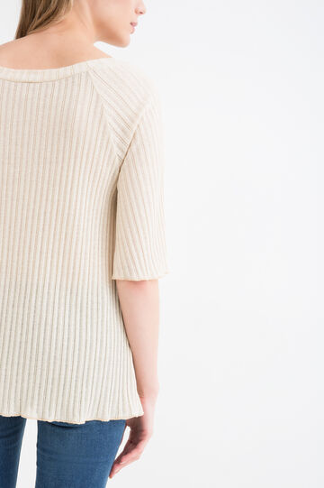 Cotton blend knitted pullover, Golden Yellow, hi-res