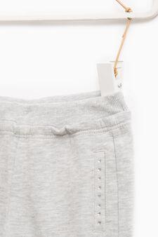 Pantaloni tuta strass bordo tasche, Grigio melange, hi-res