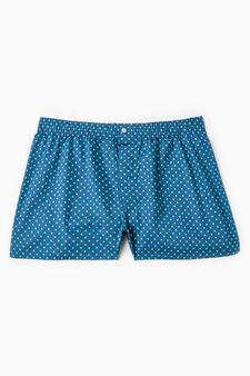 Patterned boxer shorts in 100% cotton, Deep Blue, hi-res