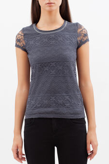 T-shirt with lace inserts, Grey, hi-res