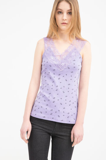 100% cotton top with lace, Lavender, hi-res