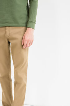 Slim fit, stretch cotton trousers, Chocolate Brown, hi-res