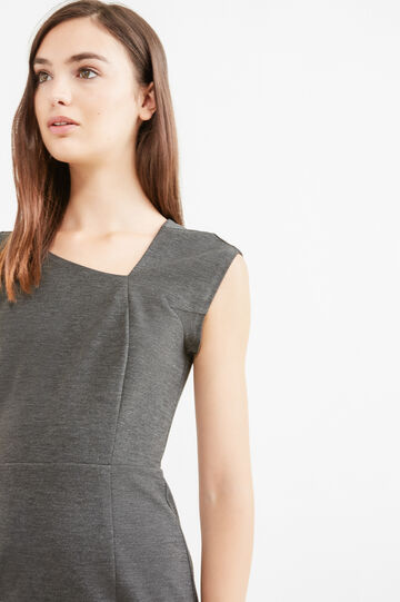Sleeveless dress in stretch viscose, Grey Marl, hi-res