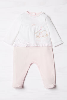 Biocotton onesie with polka dots flounces, White/Pink, hi-res