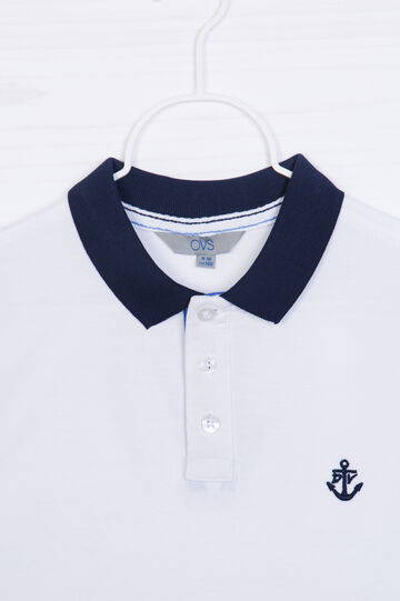 100% cotton polo shirt with buttons, White, hi-res