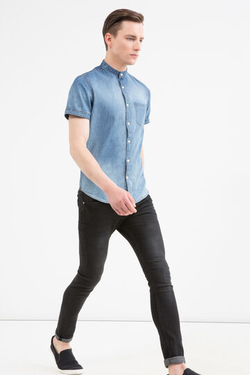 Denim shirt with faded effect, Medium Wash, hi-res