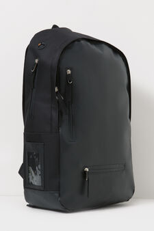 Solid colour backpack with hole for headphones, Black, hi-res
