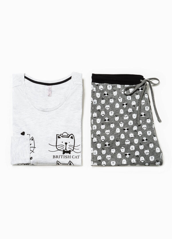 Pyjamas with print in contrasting colour and cats pattern | OVS