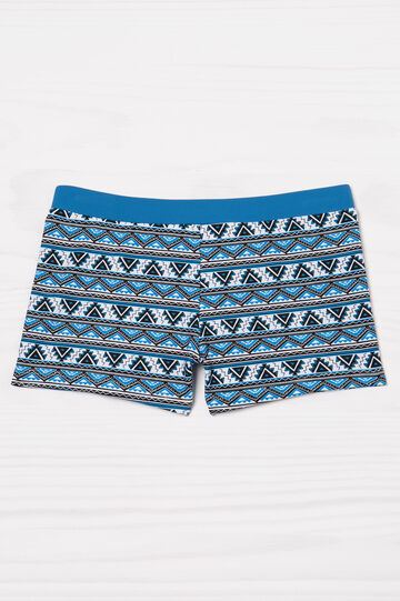 Stretch swim boxer shorts with ethnic pattern, White/Blue, hi-res