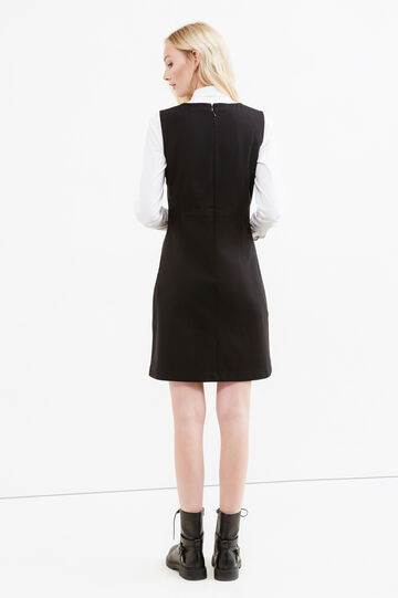 Sleeveless dress with zip on the back, Black, hi-res