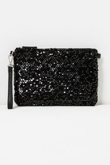 Solid colour clutch with sequins, Black, hi-res