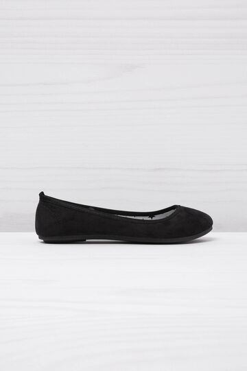 Round toe suede ballerina pumps, Black, hi-res