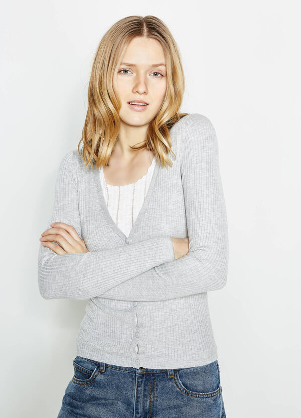 Ribbed V-neck cardigan | OVS