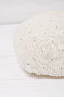 Diamanté beret in cotton, White, hi-res